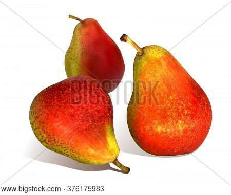 Ripe, Juicy Pears Isolated On A White Background. Set Of Three Red-green Pears. 3d. Vector.