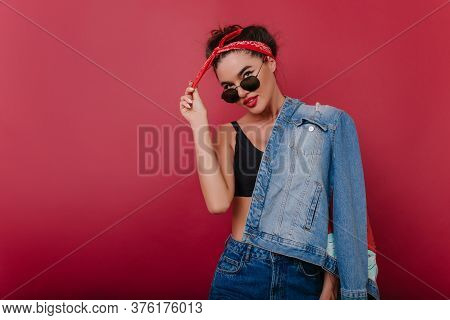 Beautiful Young Woman In Vintage Attire Spending Time In Studio. Attractive Dark-haired Caucasian Fe