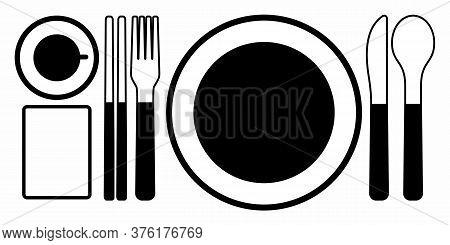 Cutlery Silhouettes. Fork Spoon Knife Black Icon Set. Black Silverware Sign. Vector Utensil Illustra