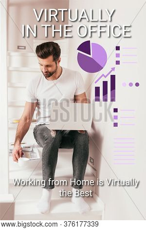 Teleworker Holding Coffee Cup Near Papers And Laptop On Staircase, Charts And Graphs Illustration