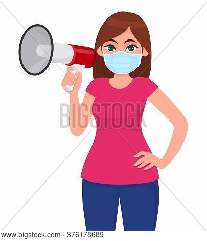 Young Woman In Medical Face Mask, Showing Megaphone. Girl Holding Loudspeaker Or Bullhorn. Female Ch