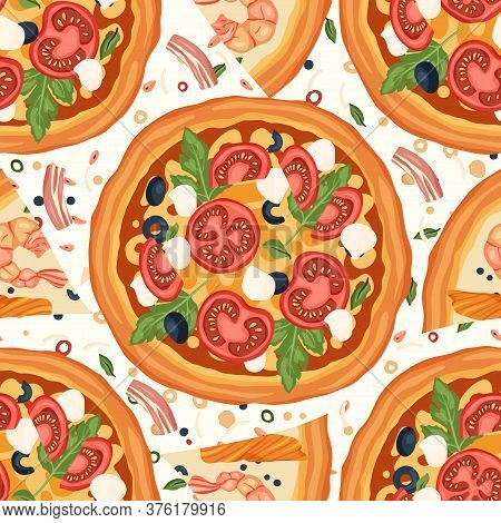 Italian Margherita Cheese And Seafood Shrimp Pizza Vector Illustration With Basil, Mozzarella, Olive