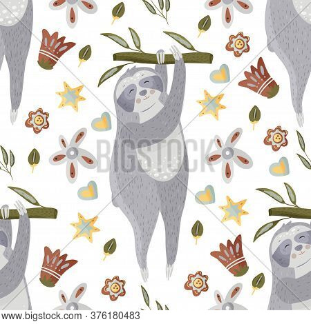 Cute Sloth Holding On To A Branch. Cartoon Vector Seamless Pattern In A Flat Style. Slow Lazy Animal
