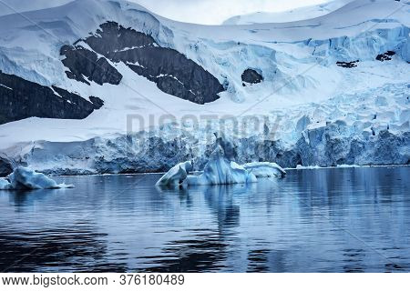 Blue Glacier Snow Mountains Paradise Bay Skintorp Cove Antarctica