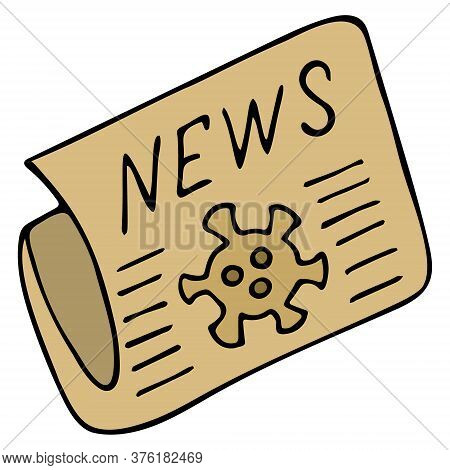Newspaper With News. Vector Stock Illustration. Isolated White Background. Information About The Out