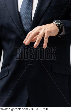 Cropped View Of Businessman In Suit Manipulating With Hand Isolated On Grey