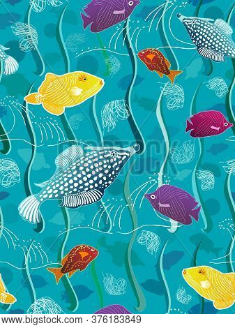 Colorful Cartoon School Of Fish On A Bright Blue Background Swimming In Ocean Water With Stylized Gr