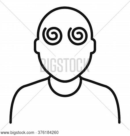 Hypnosis Pacient Eyes Icon. Outline Hypnosis Pacient Eyes Vector Icon For Web Design Isolated On Whi