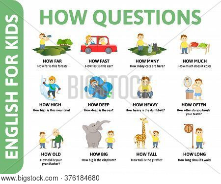 English For Kids Poster. Questions With Word How For Different Chartoon Characters. Dictionary Card
