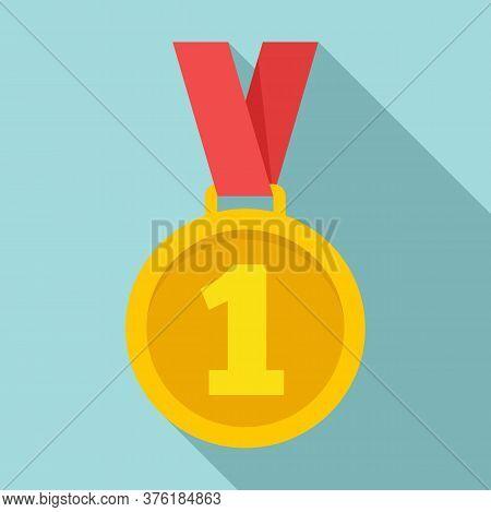 Gold Premium Medal Icon. Flat Illustration Of Gold Premium Medal Vector Icon For Web Design