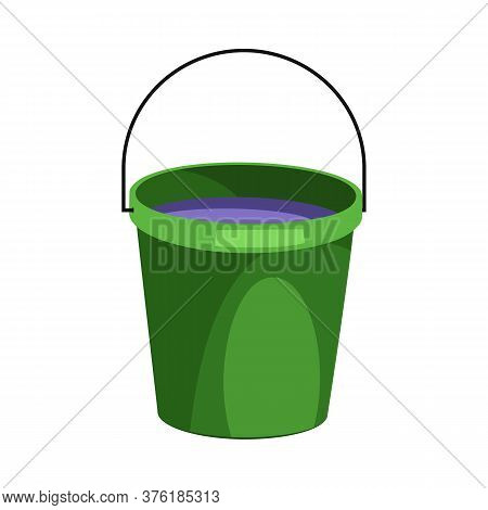 Green Bucket Illustration. Basket, Home, Cleaning. Houseware Concept. Illustration Can Be Used For T