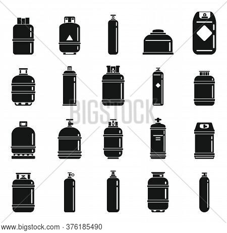 Gas Cylinders Bottle Icons Set. Simple Set Of Gas Cylinders Bottle Vector Icons For Web Design On Wh