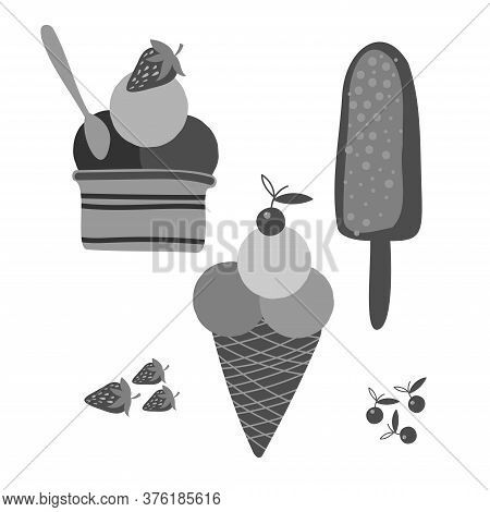 Vector Isolated Black And White Set With Ice Cream In Cones Sundae And Popsicles