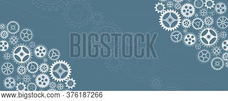 Abstract Wide Gears Background. Mechanism With Integrated Gears For Business Presentations Or Web Ba