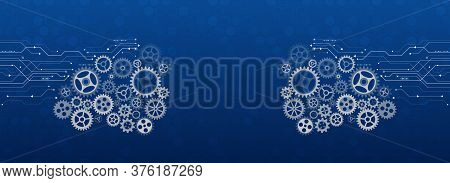 Mechanism With Integrated Gears For Business Presentations Or Information Banner. Abstract Wide Gear