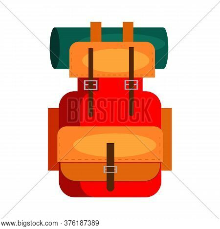 Camping Backpack. Rucksack, Equipment, Roll Mat. Illustration Can Be Used For Topics Like Trekking,