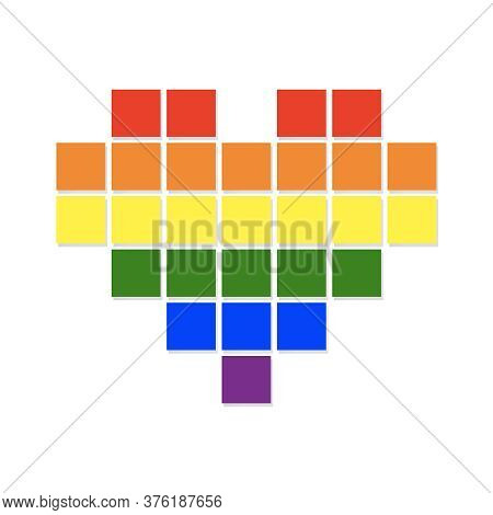 Pixel Heart With Flying Pixels On An Edge In Colors Of Lgbt Flag. Colorful Vector Symbol Of Gay Lesb