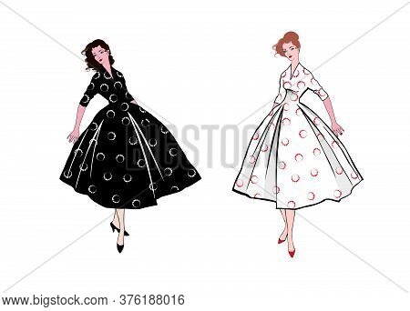 Stylish Fashion Dressed Girls (1950's 1960's Style): Retro Fashion Dress Party. Summer Clothes Vinta