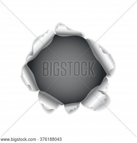 Paper Hole. Realistic Vector Torn Paper With Ripped Edges. Torn Hole In The Sheet Of Paper On A Dark
