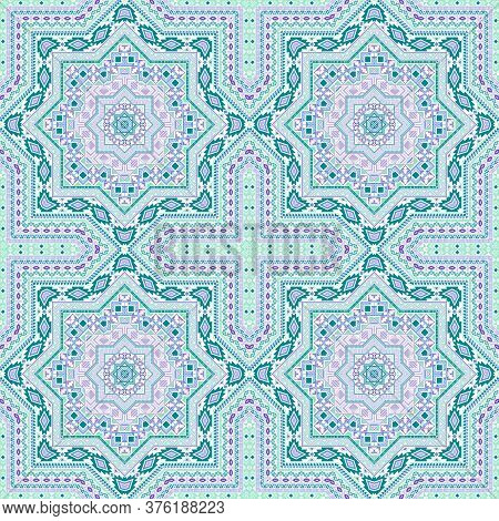 Subtle Moroccan Zellige Tile Seamless Pattern. Ethnic Structure Vector Elements. Textile Print Desig