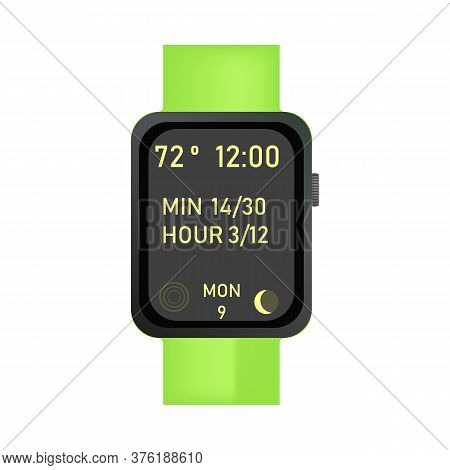 Green Electronic Wristwatch Illustration. Clock, Hand, Accessorise. Style And Fashion Concept. Illus