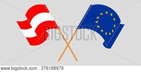 Crossed And Waving Flags Of Austria And The Eu. Vector Illustration