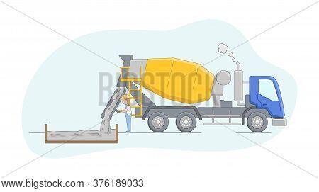 Construction Concept. Concrete Mixer Driver At Work. Worker Controls Concreting Process. Constructio