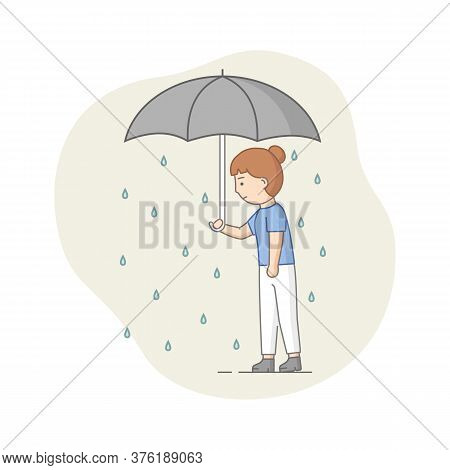 Depression Concept. Female Character Suffers From Depression. Sad Woman Standing With Umbrella Under