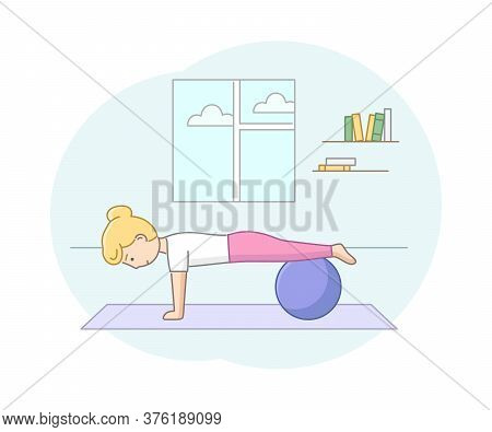 Fitness Concept, Health Care And Active Sport. Female Character Exercising In Gym Or At Home With Fi