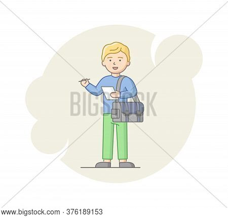 Concept Of Reportage And Interview. Young Man Reporter Collecting An Information. Male Character Sta