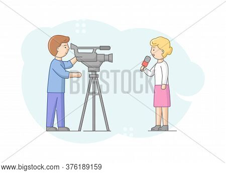Concept Of Reportage And Interview. Woman Reporter Saying Breaking News To Camera. News Presenter An