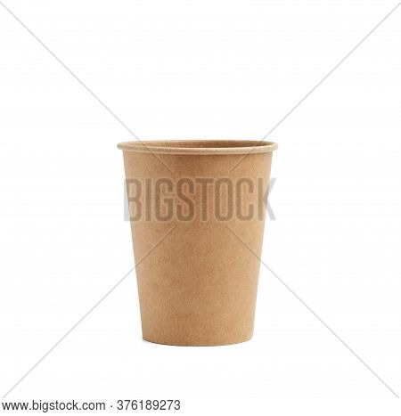 Paper Brown Cup For Hot Takeaway Drinks Isolated On A White Background. Plastic Rejection Concept, Z