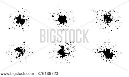 Set Of Black Vector Grunge Ink Splashes With Drops. Collection Of Isolated Unique Textured Inky Blot