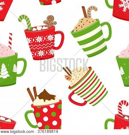 Christmas Seamless Pattern With Hot Cocoa, Cartoon Mugs With Holiday Drinks. Vector Illustration