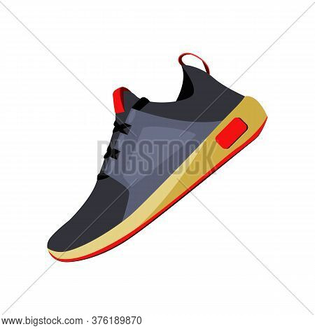 Comfort Shoe For Running. Jogging Sport Shoe In Black And Gray Colors. Can Be Used For Topics Like R
