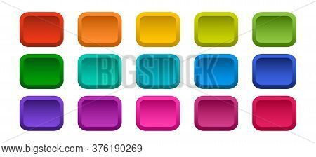 Colorful rectangle buttons isolated on white background. Vector illustration