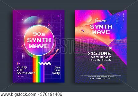 Summer Synthwave Party Poster With Vaporwave Style