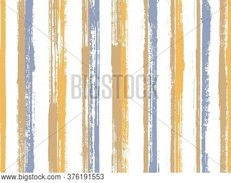 Ink Brush Stroke Parallel Lines Vector Seamless Pattern. Distressed Decorative Wallpaper Design. Scr