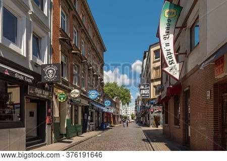 View Of A Street With Some Bars In The Red Light District Of The Hamburg District Of St. Pauli