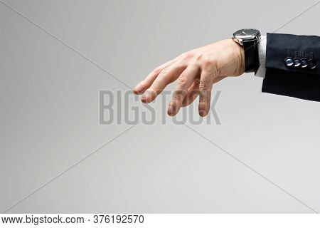 Cropped View Of Businessman Manipulating With Hand Isolated On Grey