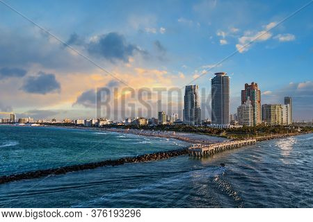 Miami Beach And Condos In Afternoon Light