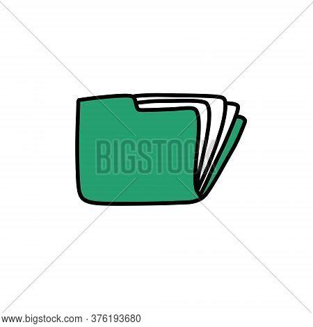 Documents Folder Doodle Icon, Vector Color Illustration