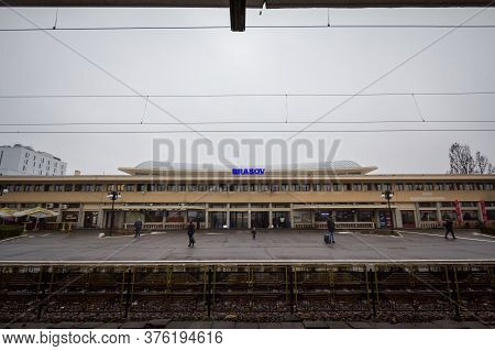 Brasov, Romania - February 15, 2020: Brasov Train Station (gara De Brasov) Seen From Its Main Platfo
