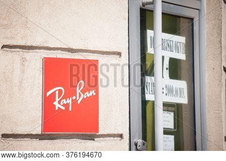Belgrade, Serbia - April 27, 2020: Ray Ban Logo On Their Main Retailer In Belgrade. Ray Ban Is An It