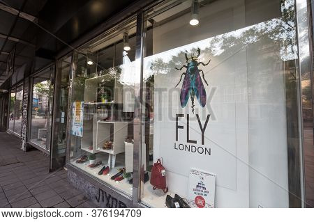 Belgrade, Serbia - April 28, 2019: Fly London Logo In Front Of Their Boutique In Belgrade. Fly Londo