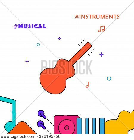 Guitar, Acoustic Guitar, Six String Guitar Filled Line Vector Icon, Simple Illustration, Related Bot
