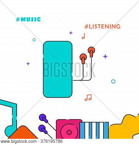 Smartphone With Earphones Filled Line Vector Icon, Simple Illustration, Related Bottom Border.