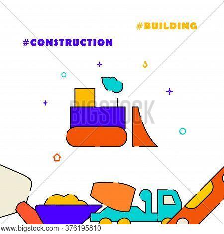 Bulldozer, Road Scraper Filled Line Vector Icon, Simple Illustration, Related Bottom Border.
