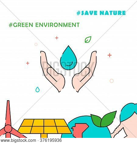 Save Water Caring Hands Filled Line Vector Icon, Simple Illustration, Related Bottom Border.