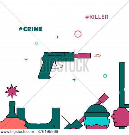 Killer Silenced Pistol Filled Line Vector Icon, Simple Illustration, Related Bottom Border.